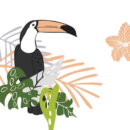 Hand drawn toucan and tropical plants. Vector sketch illustration.