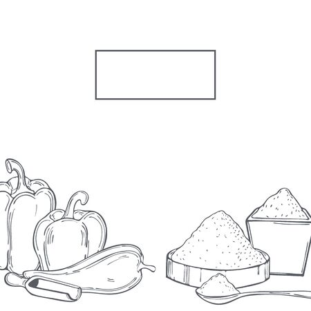 Hand drawn spice paprika. Vector  background. Sketch illustration.