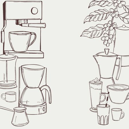 Hand drawn coffee set. Vector background. Sketch illustration.