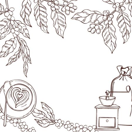 Vector background with hand drawn coffee plants and beans. Sketch illustration.