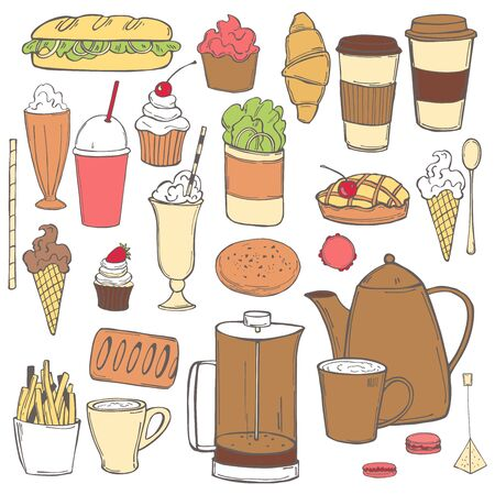 Hand drawn coffee shop food set. Vector sketch illustration.
