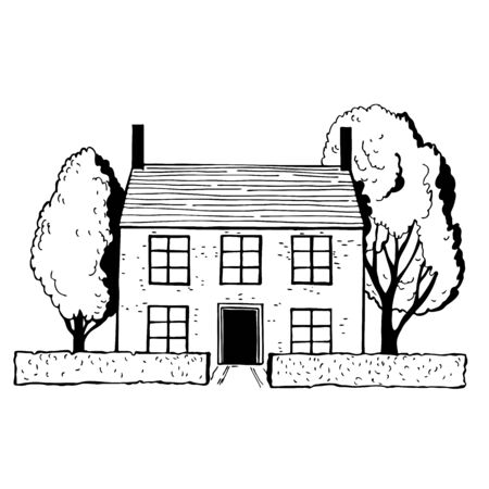 Hand drawn stone cottage with trees.. Vector sketch  illustration.