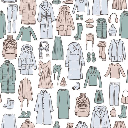 Winter  fashion. Hand drawn women's clothing and shoes. Vector  seamless  pattern. Sketch illustration