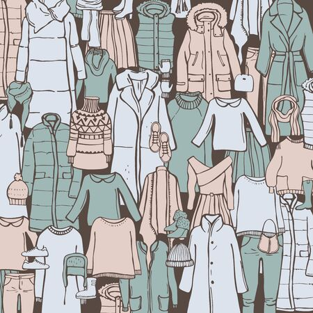 Winter  fashion.  Vector  background with hand drawn women's clothing and shoes.