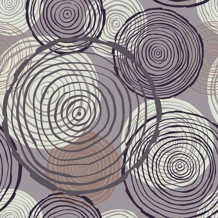 Vector seamless pattern with hand drawn tree rings on grey background. Illustration