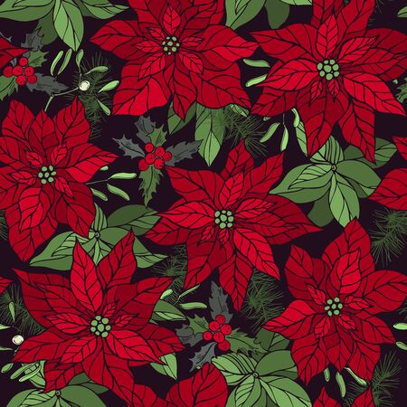 Vector seamless pattern with hand drawn poinsettias and Christmas plants.