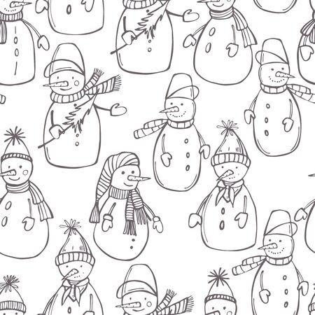 Hand drawn snowmen on white background. Vector  seamless pattern