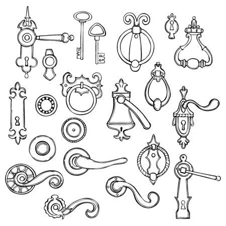 Hand drawn vintage door handles on white background.Vector sketch illustration.