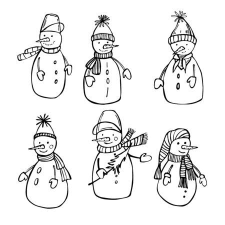 Hand drawn snowmen. Vector sketch illustration