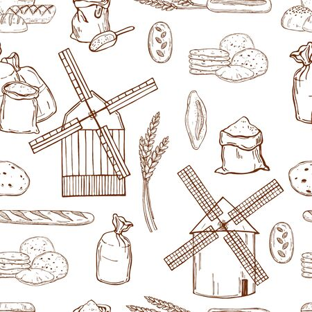Hand drawn windmill, wheat flour and bread. Vector seamless pattern