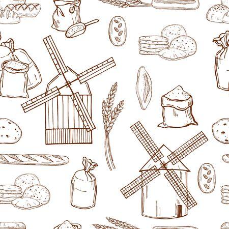 Moulin à vent dessiné à la main, farine de blé et pain. Modèle sans couture de vecteur