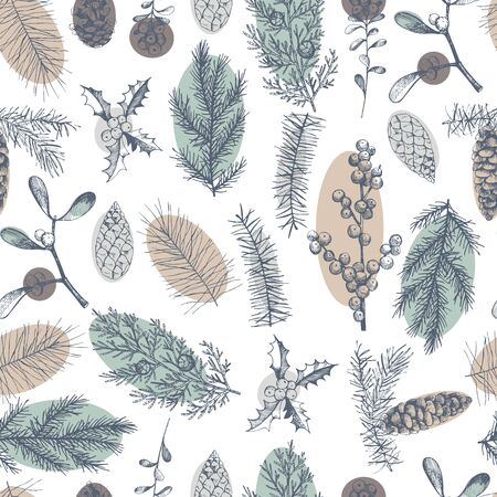 Vector  seamless pattern with hand drawn Christmas plants 일러스트