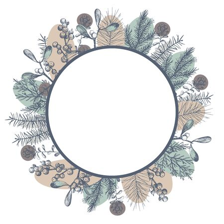 Vector frame with Christmas plants. Hand-drawn ilustration.