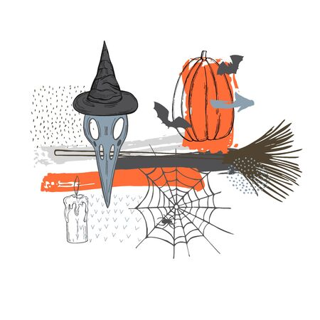 Vector halloween sketch illustration with bird skull.