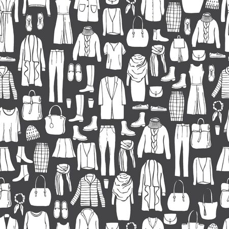 Autumn fashion. Hand drawn women's clothing and shoes. Vector  seamless pattern