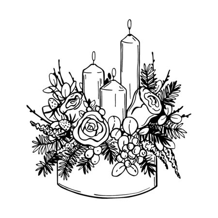 Christmas flowers with candles. Vector hand-drawn illustration. 向量圖像