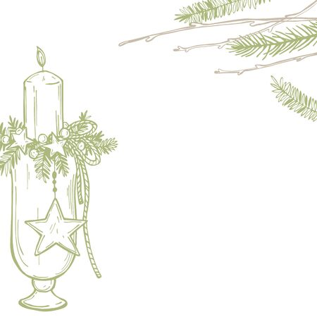 Hand drawn Christmas flower arrangement with candles. Vector background. 向量圖像
