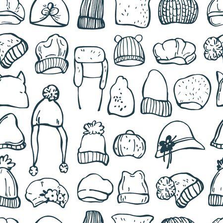 Hand drawn winter women's hats.  Vector seamless pattern. Çizim