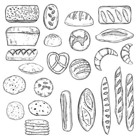 Hand drawn bread. Vector sketch illustration.