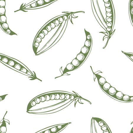 Hand drawn peas on white background. Vector seamless pattern. Vettoriali