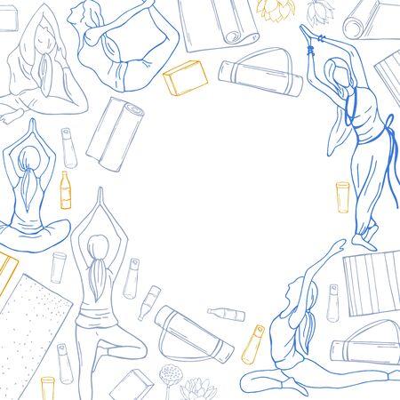 Yoga background. Hand drawn girls on white background. Vector sketch illustration.