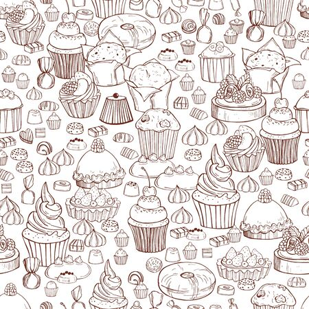 Hand drawn bakery products. Cookies, cakes, sweets. Vector  seamless pattern Illusztráció