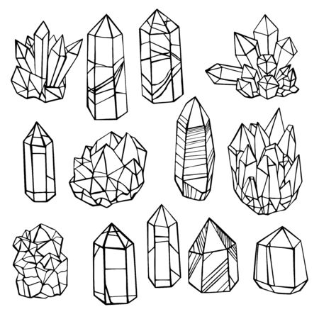 Hand drawn minerals and  crystals. Vector sketch  illustration.