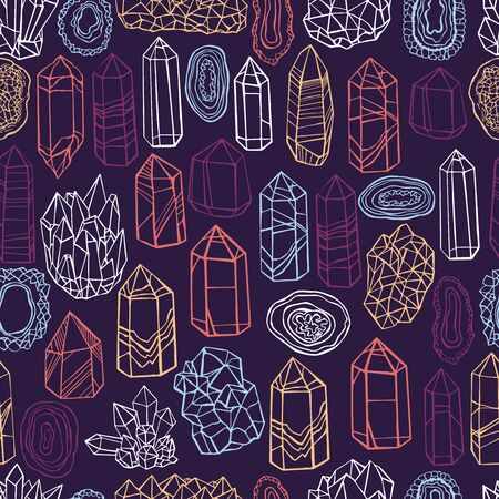 Hand drawn minerals, and crystals.  Vector  seamless pattern.