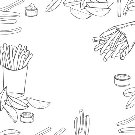 Dishes from potatoes. French fries and  rustic fries. Vector background. Vectores