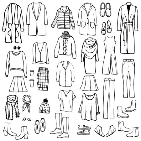 Autumn fashion. Hand drawn women's clothing and shoes. Vector sketch  illustration. Illustration