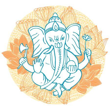 Hand drawn Ganesha and lotuses in a circle. Sketch illustration Vektorové ilustrace