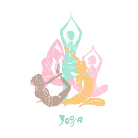Yoga. Hand drawn girls on white background. Vector sketch illustration.