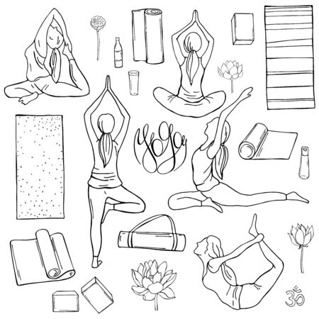 Yoga set.. Hand drawn girls on white background. Vector sketch illustration.