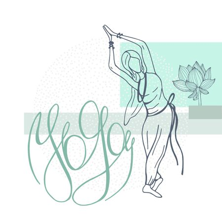 Yoga. Hand drawn girl on white background. Vector sketch illustration.