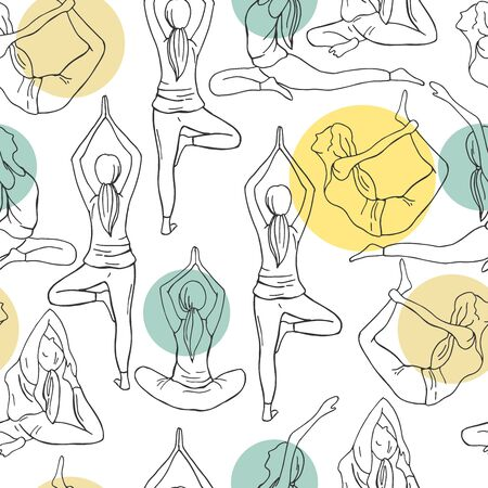 Yoga. Hand drawn girls on white background. Vector  seamless pattern Illustration