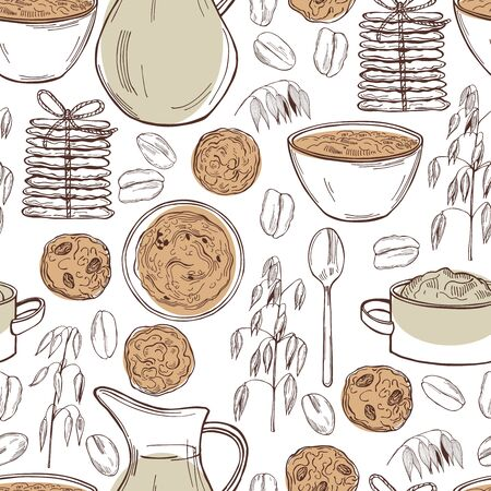 Vector seamless pattern with oatmeal porridge and cookies. Hand drawn sketch illustration