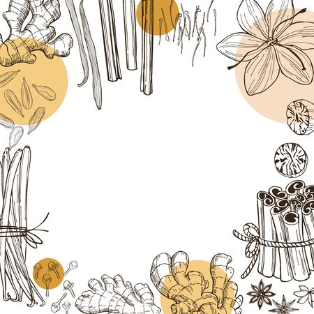 Spices for dessert, and baking.Vector background. Hand drawn sketch illustration