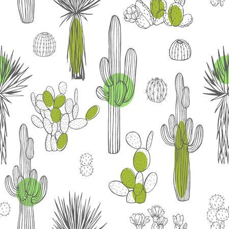 Desert plants, cacti. Vector  seamless pattern.