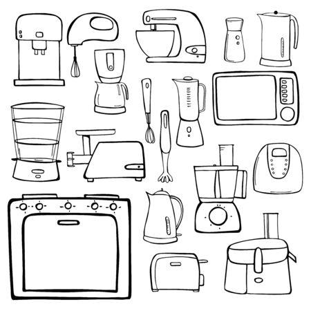 Kitchen appliances set. Vector hand-drawn illustration.