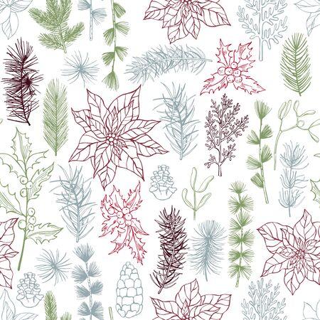 Vector seamless pattern with hand drawn Christmas plants Vektorové ilustrace