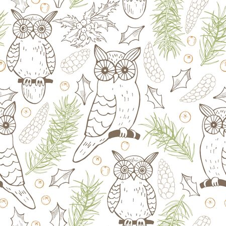 Hand drawn forest owls.Vector seamless pattern Illustration