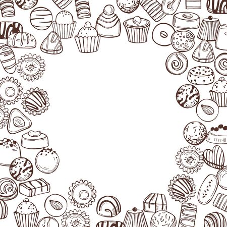 Hand drawn candy  set. Handmade chocolates. Vector background  イラスト・ベクター素材