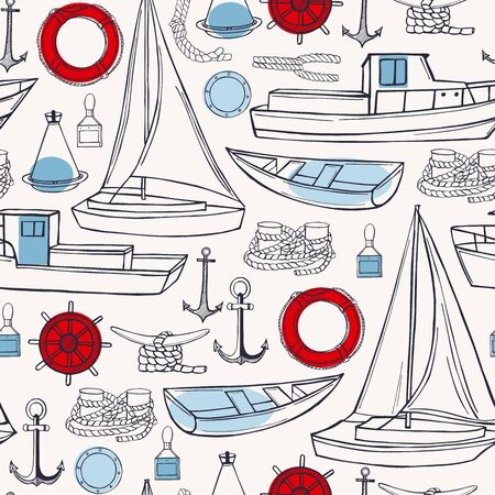 Sea transport, yachts and ships. Vector  seamless pattern.