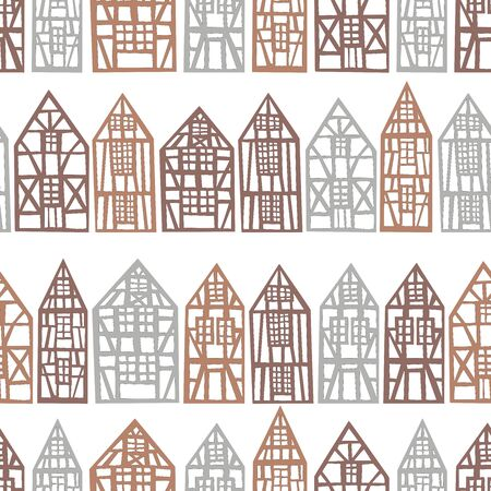 Hand drawn half-timbered houses. Vector seamless pattern.