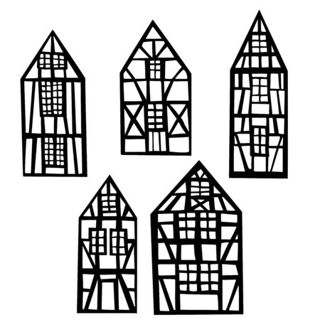 Hand drawn half-timbered houses. Vector sketch illustration.
