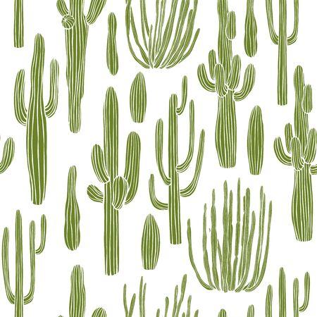 Desert cacti. Vector  seamless pattern