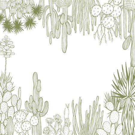 Desert plants, cacti. Vector background. Sketch  illustration. 向量圖像