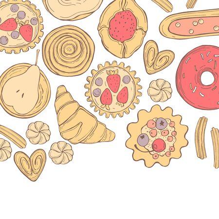 Bakery products background. Cookies, cakes, donuts. Vector sketch  illustration. Illusztráció