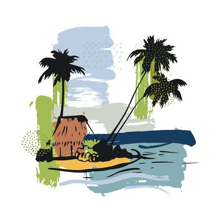 Hand drawn bungalow with palm trees on the coast. Vector sketch  illustration. Vectores