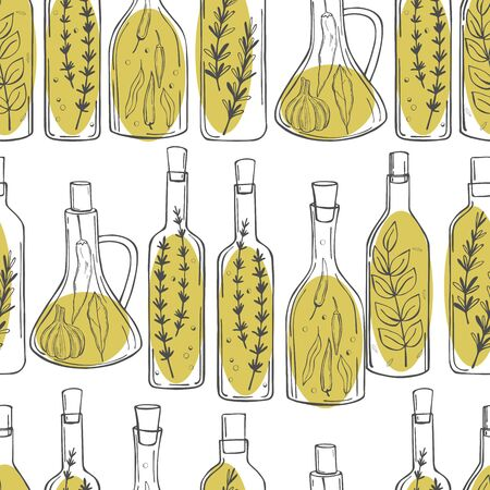 Hand drawn spicy oils with herbs and spices in different bottles. Seamless vector pattern